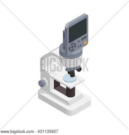 Microbiology Biotechnology Isometric Composition With Isolated Image Of Modern Lab Microscope With S