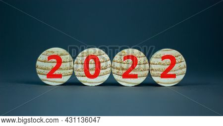 2022 Happy New Year Symbol. Wooden Circles Symbolize The Change From 2021 To The New Year 2022. Beau