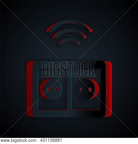 Paper Cut Smart Electrical Outlet System Icon Isolated On Black Background. Power Socket. Internet O