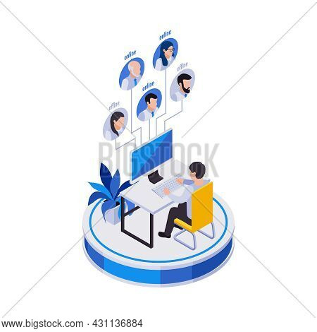 Remote Management Distant Work Isometric Icons Composition With Man At Computer Table With Avatars O