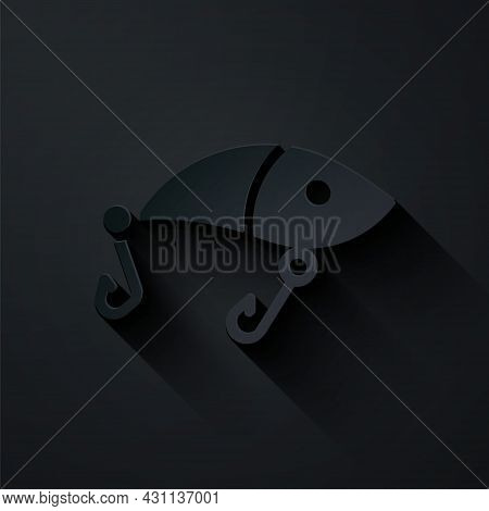 Paper Cut Fishing Lure Icon Isolated On Black Background. Fishing Tackle. Paper Art Style. Vector