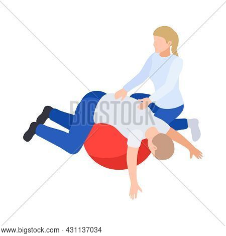 Physiotherapy Rehabilitation Isometric Composition With Patient Lying On Top Of Rubber Ball With Med