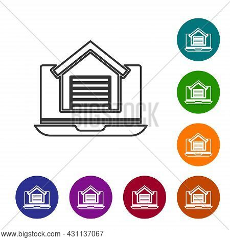Black Line Online Real Estate House On Laptop Icon Isolated On White Background. Home Loan Concept,