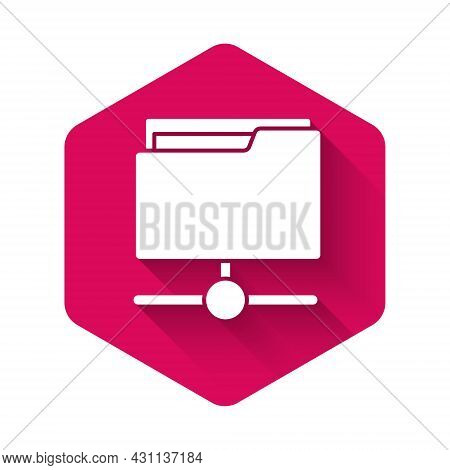 White Ftp Folder Icon Isolated With Long Shadow. Software Update, Transfer Protocol, Router, Teamwor