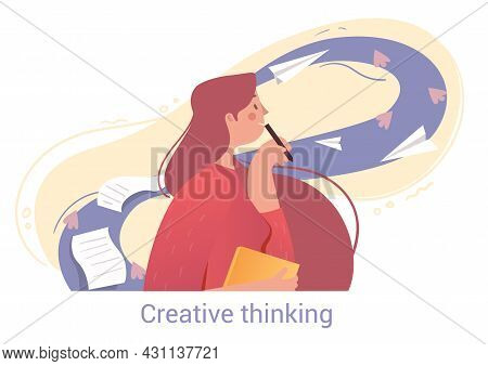 Young Female Character Is Using Creative Thinking For Better Writing On White Background. People Try