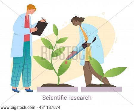 Young Male And Female Characters Are Conducting Scientific Research On White Background. Concept Of
