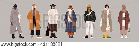 Set Of Fashionable Female Characters In Trendy Clothes On Grey Background. Classy Colorful Street St