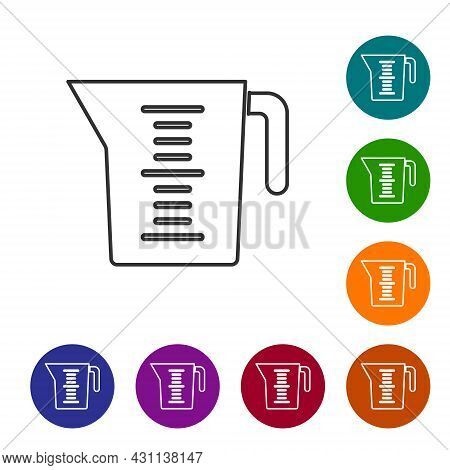 Black Line Measuring Cup To Measure Dry And Liquid Food Icon Isolated On White Background. Plastic G