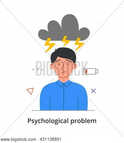 Young Stressed Male Character Is Having A Psychological Problem On White Background. Concept Of Peop