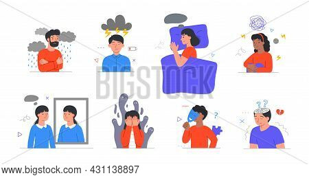 Set With Male And Female Characters Having Mental Health Problems On White Background. People With A