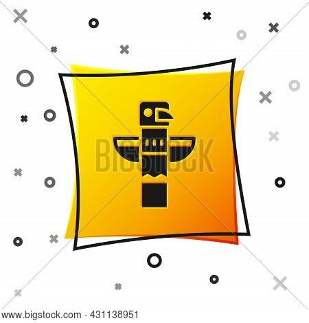 Black Canadian Totem Pole Icon Isolated On White Background. Yellow Square Button. Vector