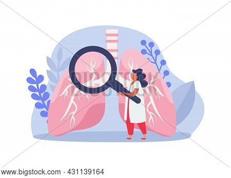 Lung Inspection Flat Icons Composition With Female Doctor Character Holding Hand Glass Inspecting Lu
