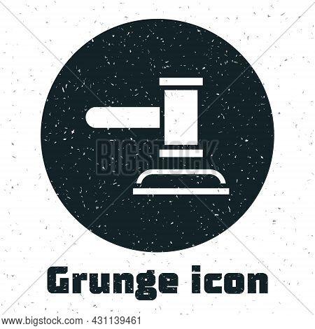 Grunge Judge Gavel Icon Isolated On White Background. Gavel For Adjudication Of Sentences And Bills,