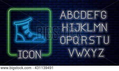Glowing Neon Sport Boxing Shoes Icon Isolated On Brick Wall Background. Wrestling Shoes. Neon Light