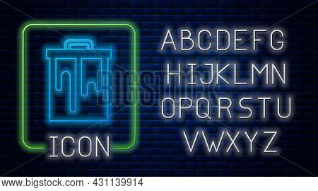 Glowing Neon Honeycomb Icon Isolated On Brick Wall Background. Honey Cells Symbol. Sweet Natural Foo