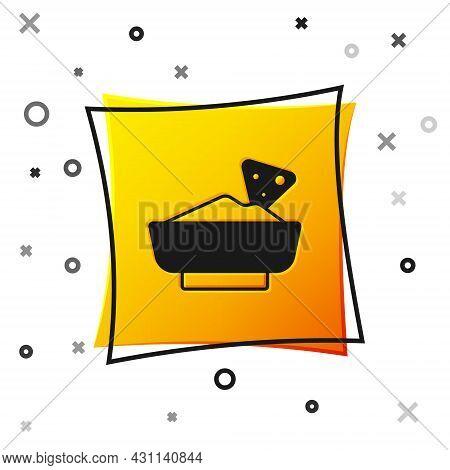 Black Nachos In Bowl Icon Isolated On White Background. Tortilla Chips Or Nachos Tortillas. Traditio