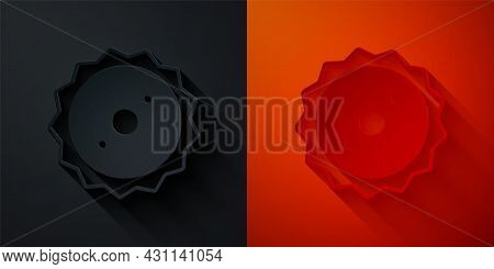 Paper Cut Circular Saw Blade Icon Isolated On Black And Red Background. Saw Wheel. Paper Art Style.