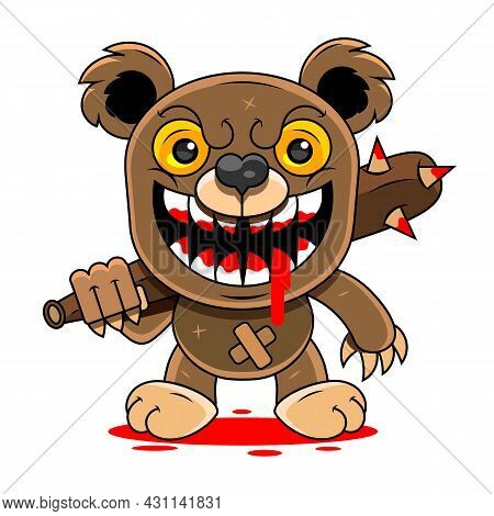Angry Cartoon Bear Roaring. Vector Illustration With Simple Gradients.