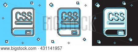 Set Books About Programming Icon Isolated On Blue And White, Black Background. Programming Language