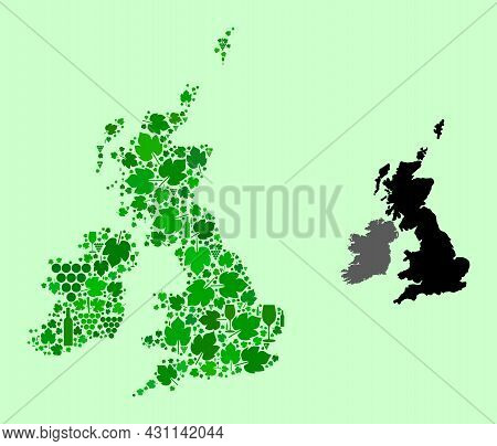 Vector Map Of Great Britain And Ireland. Combination Of Green Grape Leaves, Wine Bottles. Map Of Gre