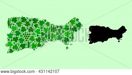 Vector Map Of Capri Island. Collage Of Green Grapes, Wine Bottles. Map Of Capri Island Collage Desig