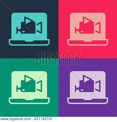 Pop Art Online Play Video Icon Isolated On Color Background. Film Strip With Play Sign. Vector