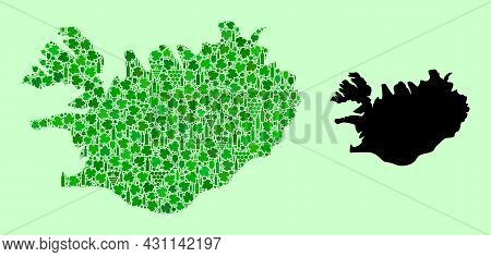 Vector Map Of Iceland. Collage Of Green Grapes, Wine Bottles. Map Of Iceland Collage Formed With Bot
