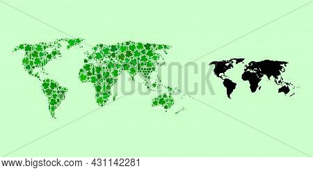 Vector Map Of World. Mosaic Of Green Grape Leaves, Wine Bottles. Map Of World Mosaic Created From Bo