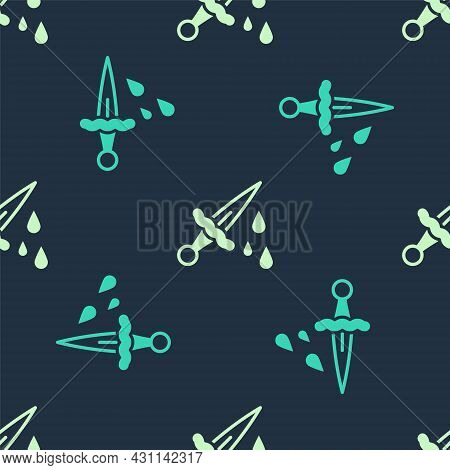 Green And Beige Sword With Blood Icon Isolated Seamless Pattern On Blue Background. Medieval Weapons