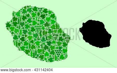 Vector Map Of Reunion Island. Mosaic Of Green Grapes, Wine Bottles. Map Of Reunion Island Mosaic Des