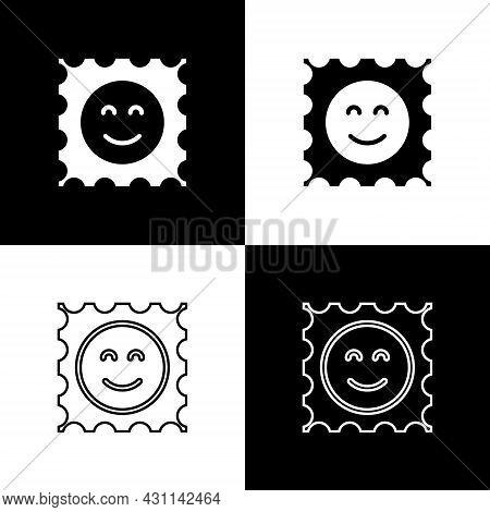 Set Lsd Acid Mark Icon Isolated On Black And White Background. Acid Narcotic. Postmark. Postage Stam