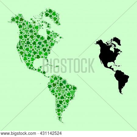 Vector Map Of South And North America. Combination Of Green Grapes, Wine Bottles. Map Of South And N