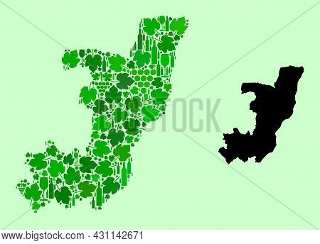 Vector Map Of Republic Of The Congo. Mosaic Of Green Grape Leaves, Wine Bottles. Map Of Republic Of