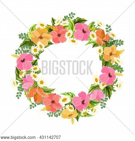 Frame Made Of Hibiscus And Daisies.colored Vector Illustration With Frame Of Hibiscus And Daisies On