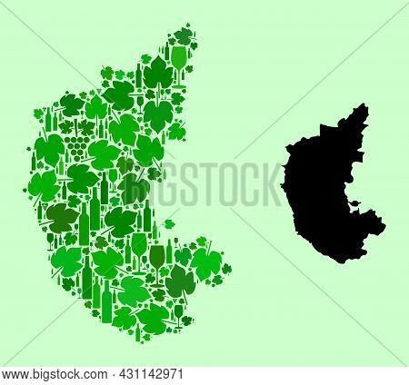 Vector Map Of Karnataka State. Mosaic Of Green Grapes, Wine Bottles. Map Of Karnataka State Mosaic C