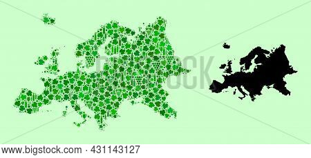 Vector Map Of Europe. Mosaic Of Green Grapes, Wine Bottles. Map Of Europe Mosaic Designed With Bottl