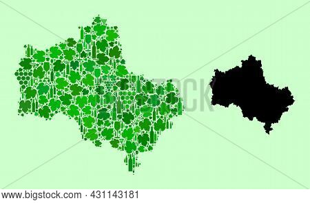 Vector Map Of Moscow Region. Mosaic Of Green Grape Leaves, Wine Bottles. Map Of Moscow Region Mosaic