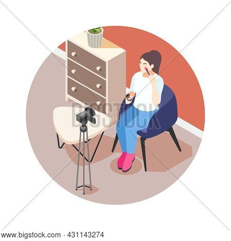 Isometric Icon With Beauty Vlogger Shooting Video About Cosmetics Vector Illustration