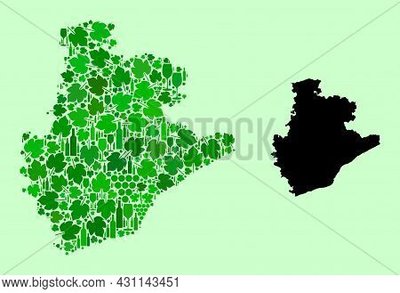 Vector Map Of Barcelona Province. Collage Of Green Grape Leaves, Wine Bottles. Map Of Barcelona Prov