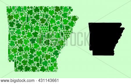 Vector Map Of Arkansas State. Collage Of Green Grape Leaves, Wine Bottles. Map Of Arkansas State Col