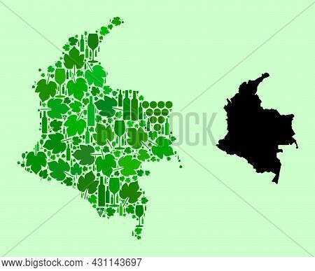 Vector Map Of Colombia. Mosaic Of Green Grape Leaves, Wine Bottles. Map Of Colombia Collage Designed