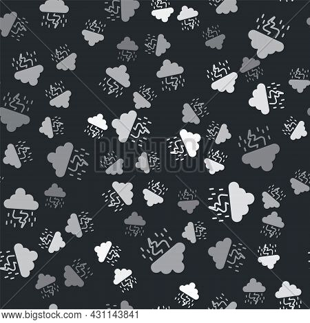 Grey Storm Icon Isolated Seamless Pattern On Black Background. Cloud And Lightning Sign. Weather Ico