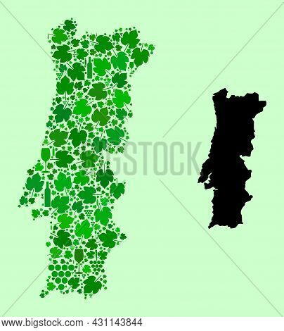 Vector Map Of Portugal. Mosaic Of Green Grape Leaves, Wine Bottles. Map Of Portugal Mosaic Composed