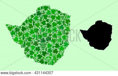 Vector Map Of Zimbabwe. Mosaic Of Green Grape Leaves, Wine Bottles. Map Of Zimbabwe Mosaic Designed