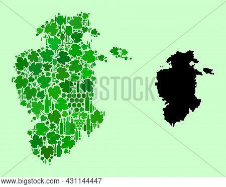 Vector Map Of Burgos Province. Composition Of Green Grape Leaves, Wine Bottles. Map Of Burgos Provin