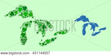 Vector Map Of Great Lakes. Composition Of Green Grape Leaves, Wine Bottles. Map Of Great Lakes Mosai