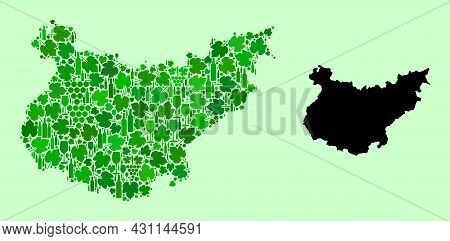 Vector Map Of Badajoz Province. Collage Of Green Grapes, Wine Bottles. Map Of Badajoz Province Colla