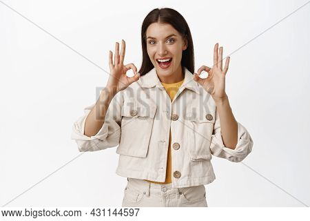 Beautiful Adult Woman, Smiling Happy, Showing Okay Ok Sign, Zero Problems Gesture, Assure No Problem