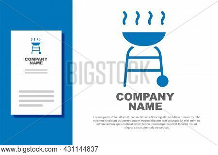 Blue Barbecue Grill Icon Isolated On White Background. Bbq Grill Party. Logo Design Template Element