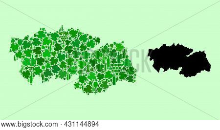Vector Map Of Toledo Province. Mosaic Of Green Grape Leaves, Wine Bottles. Map Of Toledo Province Mo